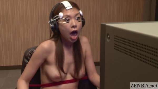 bound stark naked japanese woman eyes held open watching tv