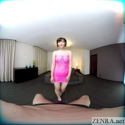 asahi mizuno in sheer pink dress tits visible