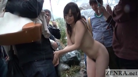 stark naked yuu kawakami with clothed men outside