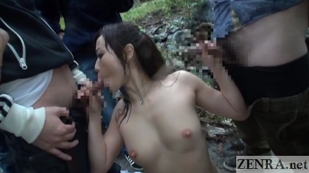blowjob handjob threesome outside with yuu kawakami