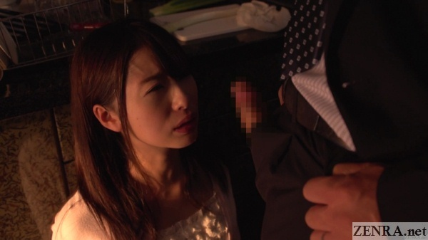 hatsumi saki presented with erection in kitchen