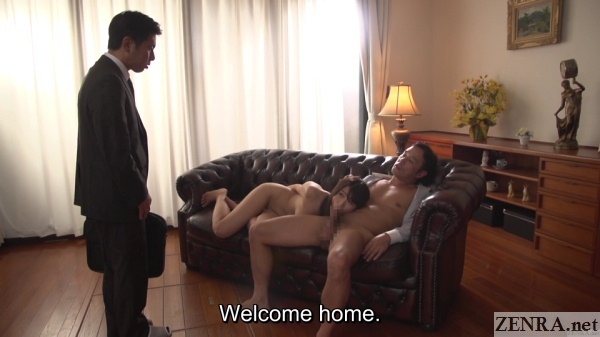 japanese couple surprise sex in living room