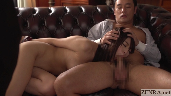 hatsumi saki bound blowjob while being watched
