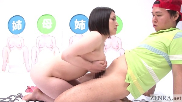 titjob by pale and voluptuous japanese milf on game show