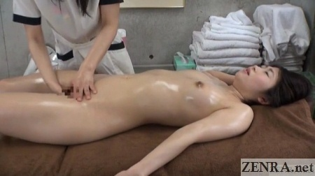 japanese lesbian massage clinic clothed masseuse naked client