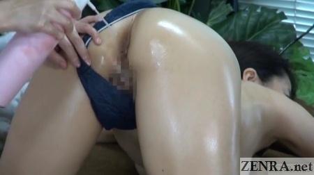 compressed air sprayed onto anus of older japanese woman