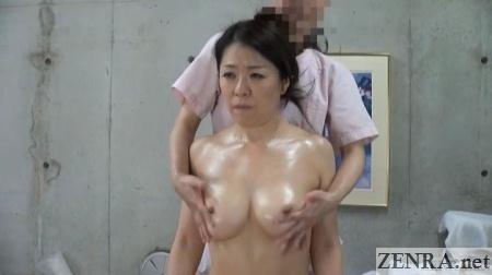 japanese cfnm milf breast oil massage
