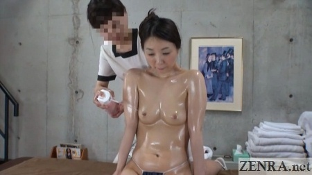 oiled up japanese nipple treatment with compressed air