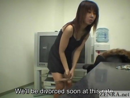 japanese wife strips out of pantyhose during interview