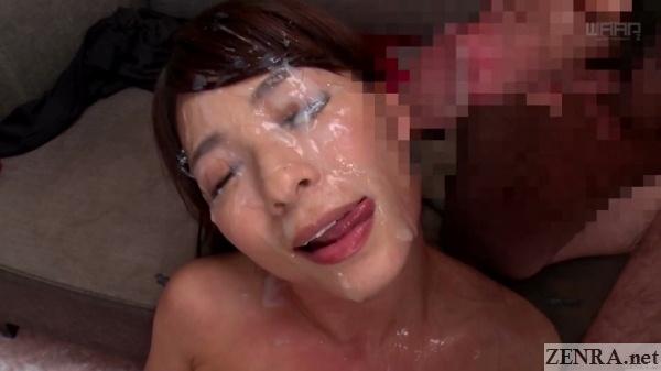 kaho kasumi licks cum during bukkake