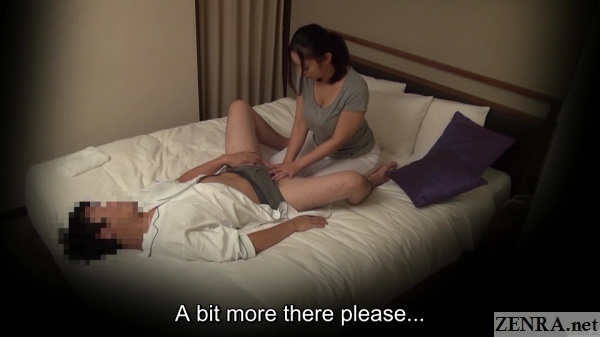 spread client receives sensual groin massage