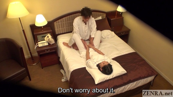 embarrassed hotel massage receives treatment from client