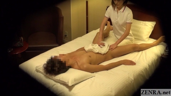supine japanese oil massage groin focus