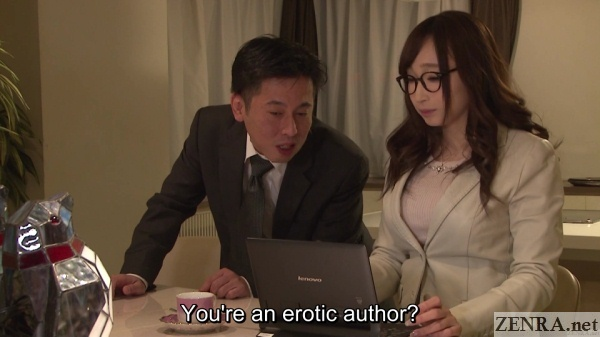 kurea hasumi at cafe on laptop coworker approaching