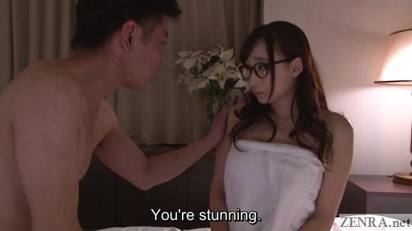towel clad hasumi kurea with glasses on