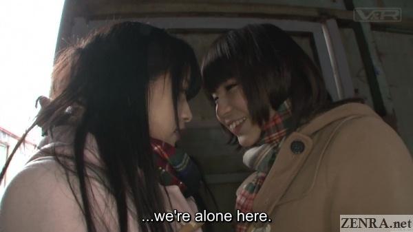 japanese schoolgirls in empty factory