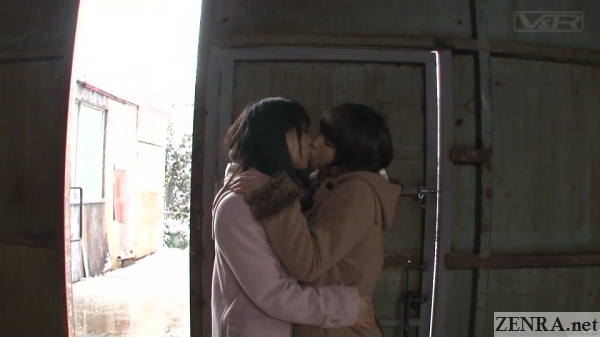 embracing and kissing japanese schoolgirls
