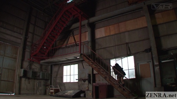 japanese schoolgirls climb staiwell in abandoned factory