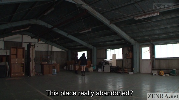 attic in japanese abandoned factory two curious schoolgirls