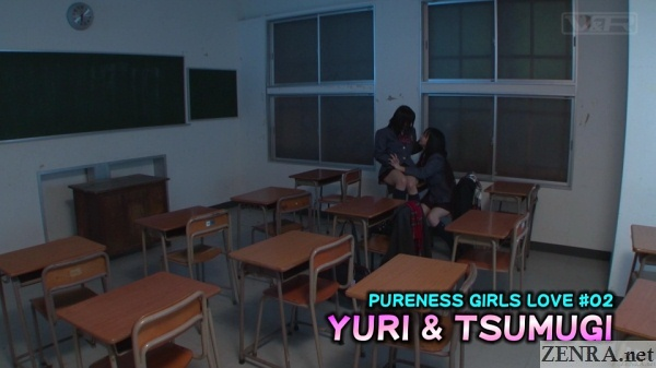 japanese schoolgirls alone in classroom