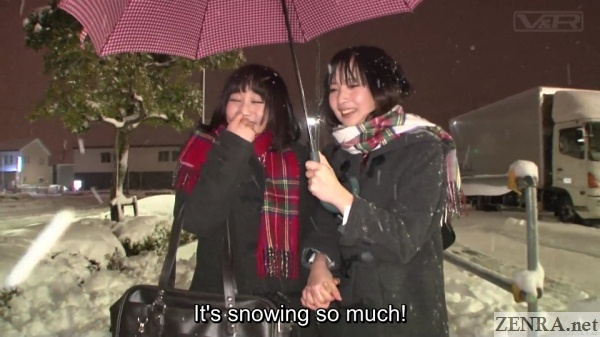 japanese schoolgirls outdoors in the snow
