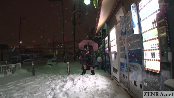 snowy evening kissing lesbian schoolgirls under umbrella