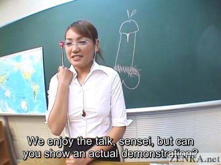 students ask japanese teacher for blowjob demonstration