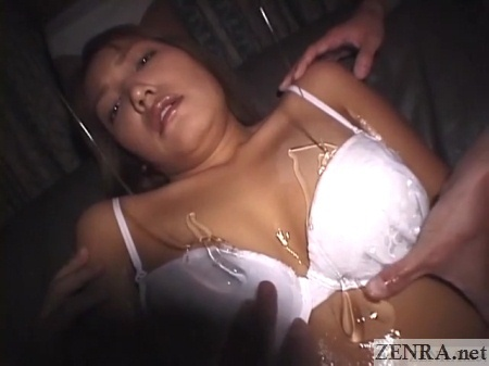 mako umino covered with lotion