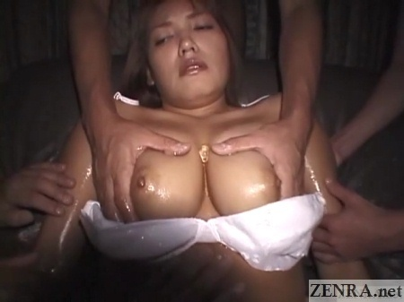 busty japanese gyaru breasts squeezed