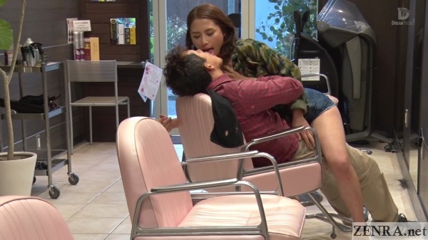 japanese deep kissing at hair salon in tokyo