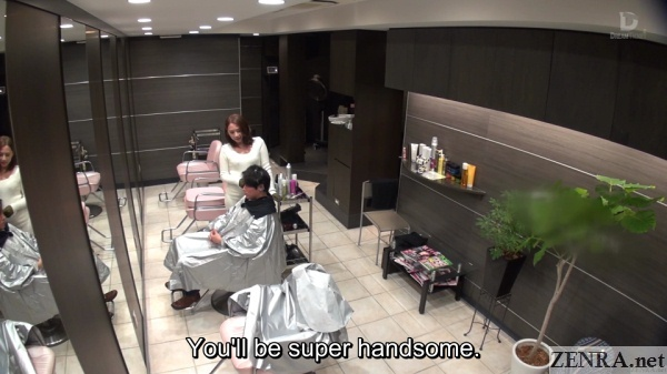 japanese hair stylist flirts with client