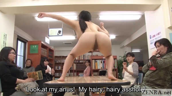 cfnf japanese nudist on table sticking out butt