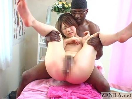 spread japanese pale woman nakadashi massage with black man