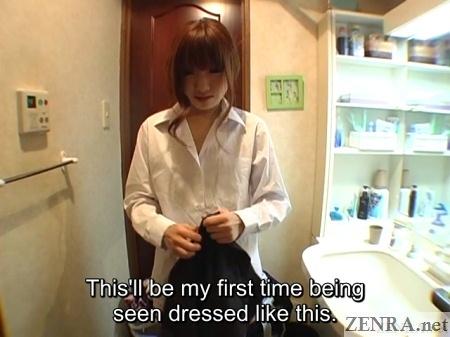 japanese woman changing into male gakuran