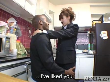 bizarre jav student interracial romance in kitchen