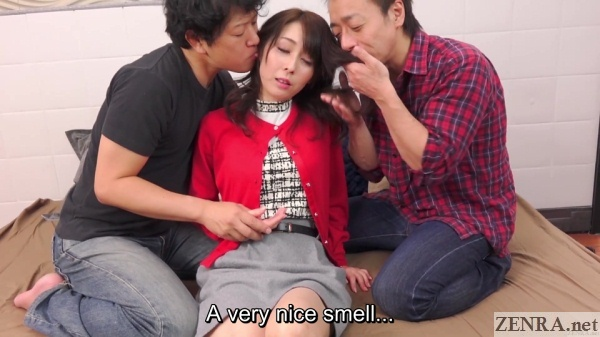 hair smelling japanese threesome foreplay