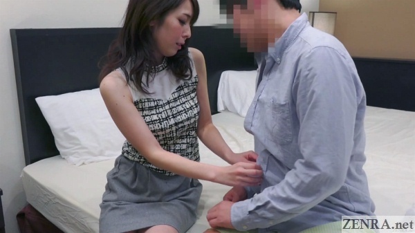 pale japanese milf helps special person strip