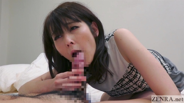 blowjob by pale unfaithful older japanese wife