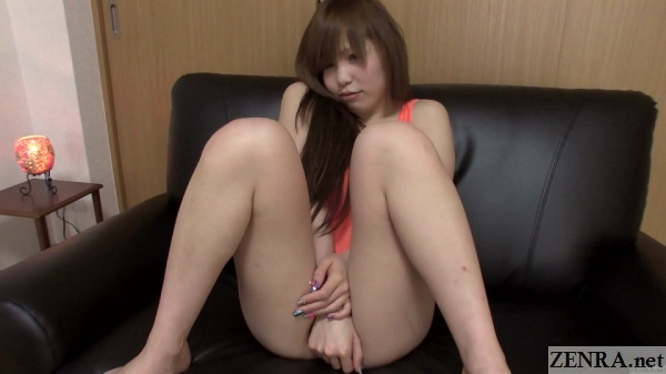 embarrassed japanese amateur in revealing swimsuit