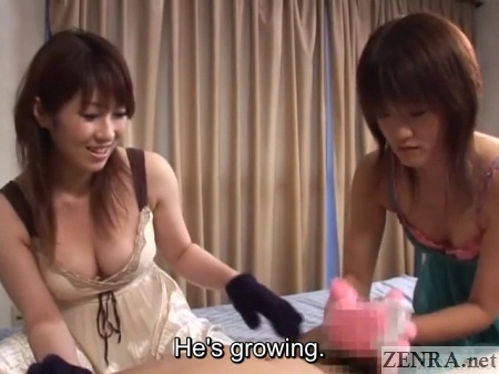 jav femdom threesome handjob gloved