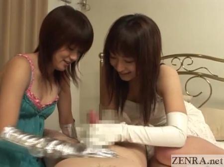 cfnm gloved handjob japanese femdom play