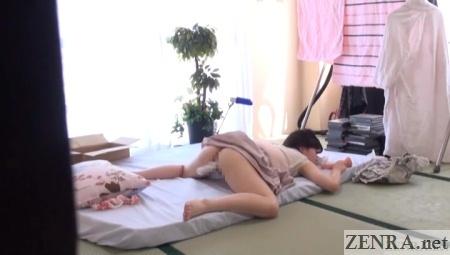 bottomless masturbating japanese woman on all fours white dildo
