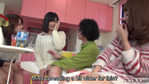 embarrassed spread jav amateur with friends