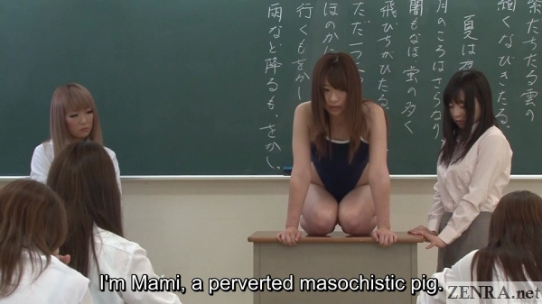 saki hatsumi in swimsuit apologizing to class