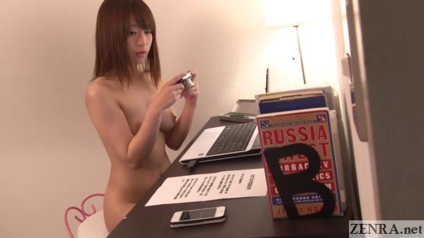 jav star saki hatsumi naked at computer