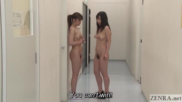nudist schoolgirl and teacher in hallway