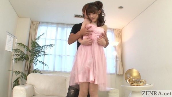 japanese woman in pink dress felt up