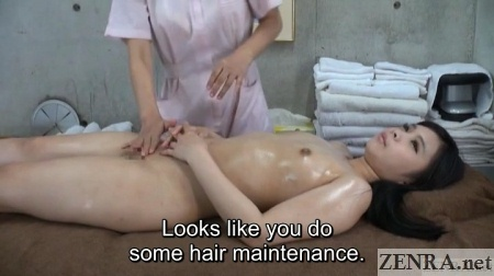 oiled up naked supine client jav lesbian massage clinic