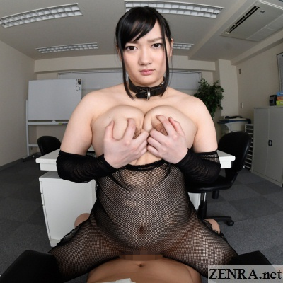 jav vr voluptuous fishnet slave gripping breasts