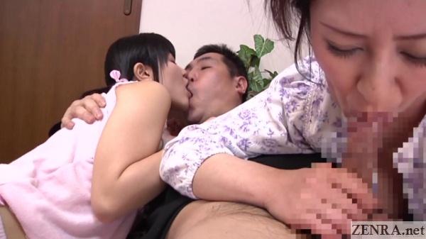 mature jav woman blowjob teen deep kissing threesome
